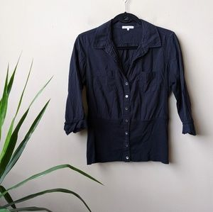 James Perse Black Button Down Ribbed Knit Shirt 2